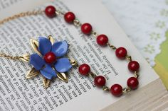 Blue Necklace  Free Matching Earrings  Red Necklace  by madebymoe, $34.00