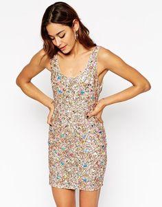 ASOS PREMIUM Iridescent Jewel Cluster Body-Conscious Dress