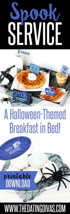 """Halloween themed Breakfast in Bed Idea!! Who wouldn't love a delicious surprise from the """"Dead and Breakfast"""" Inn?! Printable downloads included! From The Dating Divas"""