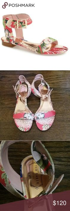 Ted Baker London Sandals These Ted Baker London sandals very pretty. They are watermelon color pretty pink flowers period they are brand new without the tag and without any blemishes or scratches. Ted Baker London Shoes Sandals