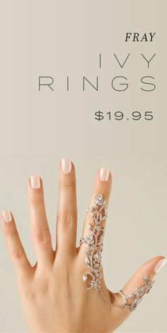 Ivy Rings - $19.95 USD at Fray Wedding Accessories, Wedding Jewelry, Jewelry Accessories, Fashion Accessories, Jewelry Design, Fashion Jewelry, Wedding Rings, Hand Jewelry, Cute Jewelry