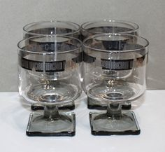 Gorgeous Vintage, Set of 4, Silver Encrusted, Wine / Cocktail Glasses, Square Gray Foot by cocoandcoffeevintage
