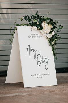wedding inspo Elegant black + white wedding signage with lush floral accents Wedding Themes, Wedding Designs, Wedding Venues, Wedding Ceremony, White Wedding Decorations, Wedding Entrance, Modern Wedding Theme, Minimalist Wedding Decor, Wedding Colors