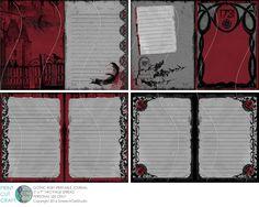 Afdrukbare gotische Journal, digitale ongewenste Journal pagina's, 5 x 7 inch pagina's, DIY Journal Kit, digitale papier-' gothic ruby ' Stationary Printable, Printable Paper, Bullet Journal Notebook, Bullet Journals, Art Journals, Journal Pages, Junk Journal, Journal Ideas, Gothic Themes