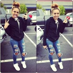 love those distressed jeans , wh sneaker with jacket and cute bun