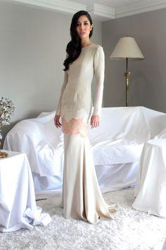 Alia Bastamam for Raya 2014 // Modern baju kurung in crepe silk with embroidered chiffon and lace panels