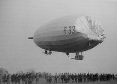 British R33 airship with collapsed envelope