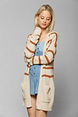 striped long open cardigan -- urban outfitters
