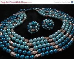 35% Off Sale Vintage Blue Green Gold 5 Strand by MartiniMermaid