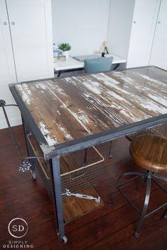 DIY Industrial Work Table with Barn Wood