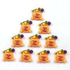 10pcs Halloween Trick & Treat Candy Pumpkin Resin Flatbacks Hair Bow Clip Crafts