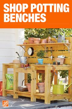 Shop our selection of Potting Bench, Garden Center in the Outdoors Department at The Home Depot. Backyard Projects, Outdoor Projects, Backyard Patio, Garden Projects, Outdoor Ideas, Woodworking Projects Diy, Diy Pallet Projects, Potting Tables, Mediterranean Home Decor