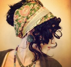 very curly hairdo with scarf - Google Search