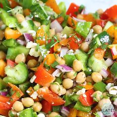Healthy Mediterranean Chickpea Salad with feta, cucumber, bell peppers, and a simple Greek dressing. Fast, easy recipe that's perfect for a summer barbecue side dish or a main dish salad for a light dinner. Mediterranean Chickpea Salad, Mediterranean Diet Recipes, Mediterranean Salad Dressing, Mediterranean Dishes, Mediterranean Style, Best Salad Recipes, Healthy Recipes, Cucumber Recipes, Healthy Salads
