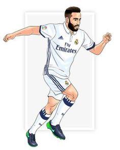 Carvajal First Football, Football Love, Real Madrid Football Club, Best Club, Soccer Players, American Football, Cristiano Ronaldo, Caricature, Cartoon
