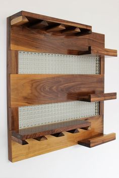 Real Walnut Wood Wall Mounted Wine Rack with by TheKnottyShelf Mdf Furniture, Pallet Furniture Designs, Hanging Wine Rack, Wine Rack Wall, Farmhouse Kitchen Decor, Home Decor Kitchen, Bar Counter Design, Wine Rack Plans, Bar A Vin