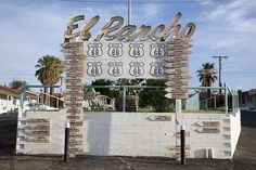 Rancho Motel sign on Route 66 in Barstow, California