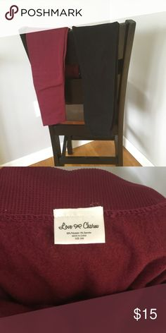 2 pairs fleece lined leggings 2 pairs of fleece lined leggings size small/medium. Maroon and black. Maroon never worn black worn and washed once. **I will separate also! And bundle other items! Pants Leggings