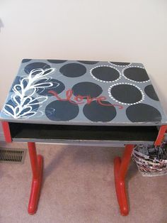 my old school desk needs a facelift before Hannah can use it Old School Desks, School Tables, Old Desks, Classroom Desk, Classroom Themes, Kids Furniture, Painted Furniture, School Desk Makeover, Rustic Industrial Decor
