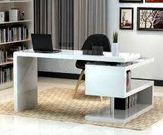 white modern u-shaped home-office desk - Google Search