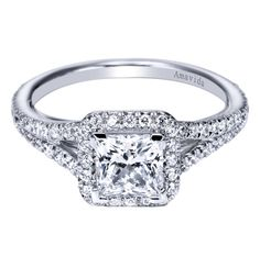 #princess halo engagement ring with split shank