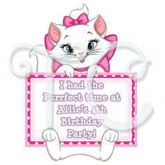 Aristocats Marie Personalized Party Favor