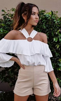 #spring #outfits  White Ruffle Cold Shoulder Top + Beige Short