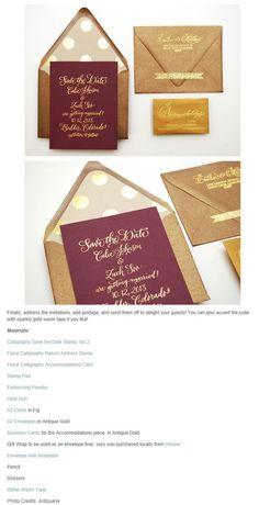 ゴールドのドット柄が可愛い結婚式用封筒&カードの作り方   Weddingcard.jp