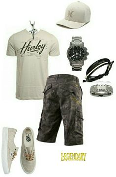 Men's fashion casual summer shorts outfit... No hat