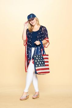 AMERICANA COLLECTION: BLING HAT, TOTE BAG, and KIMONO by Accent Accessories