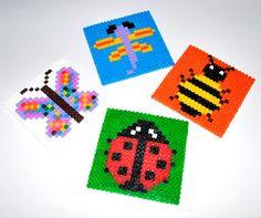 Hama beads, butterfly, dragonfly, ladybug, bee,