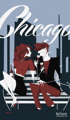 """Chicago"" Xero Fernández Illustration www.xerofernandez.com"