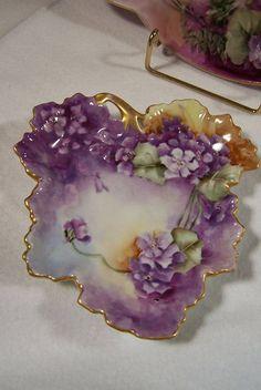 Guerin Hand Painted Limoges Violet Leaf Dish  c.1880's-1900