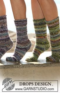 """Knitted socks in stocking sts with rib in 2 threads """"Fabel"""". (4 ply, 100g, turquoise/blue mix 100g, guacamole or use: 100g, turquoise/blue mix 100g, lavender mix, double pointed needles size 4).....4 x £1.60 = £6.40"""