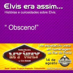 """#MyWaynoTerradaGaroa  Você sabia?  """"Na primeira vez que apareceu na televisão americana em rede nacional, Elvis não foi filmado da cintura para baixo por causa de sua dança """"imoral"""".""""  www.terradagaroa.com.br"""