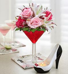 *****Cocktail inspired center pieces for a  bachelorette party! Carrie Bradshaw approved.