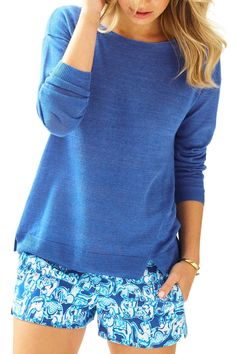 A linen sweater is perfect for throwing on when you're on the beach and the sun goes down. The Camilla Sweater is a solid linen boatneck pullover sweater with a high/low hem and side slits. Complete the look with printed or solid shorts.   Camilla Boatneck Sweater by Lilly Pulitzer. Clothing - Sweaters - Crew & Scoop Neck Sandestin Golf and Beach Resort, Florida