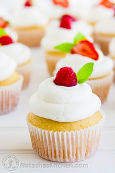 My go-to vanilla cupcakes. Perfect every time! from @natashaskitchen