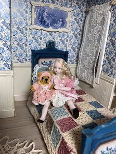 Dollhouse Miniatures, Toddler Bed, Chair, Furniture, Home Decor, Child Bed, Decoration Home, Room Decor, Doll House Miniatures
