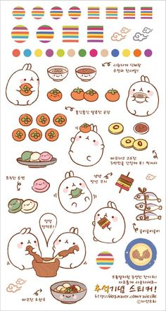 Molang and food doodles Doodles Kawaii, Kawaii Chibi, Cute Doodles, Kawaii Art, Food Doodles, Kawaii Stickers, Cute Stickers, Journal Stickers, Planner Stickers
