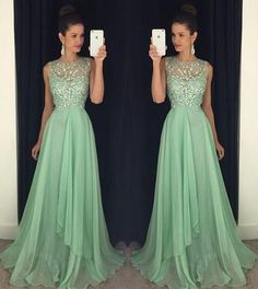 Sexy Open back Evening Prom Dresses, Beaded prom Dress, Green Prom Dress, dresses for Prom, sexy prom dresses 2017, 17015