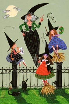 The Scolding Witches Vintage Halloween Images, Halloween Pictures, Halloween Art, Happy Halloween, Halloween Decorations, Dragons, Witch Board, Decoupage, The Worst Witch