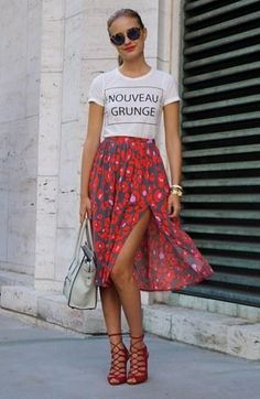 Floral skirt graphic tee effortless style red lace up high heels