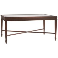 """Clean lines and a inset beveled glass top make this a great design to complement many transitional settings. Details: - Collection: South Hampton - Finish: 30 Walnut Dimensions: - Overall: 42.6"""" w x 2"""