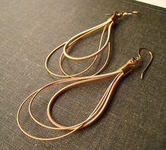 Gold Teardrop Earrings : Guitar String by cheapdatejewelry on Etsy