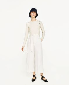 PALAZZO TROUSERS WITH BELT-Culottes-TROUSERS-WOMAN | ZARA United States