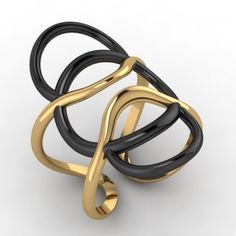 """Tempus "" silver black platinum and gold plated ring"