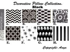 Black  Pillow Covers.Black Decorative by AnyarwotDesigns on Etsy, $15.00