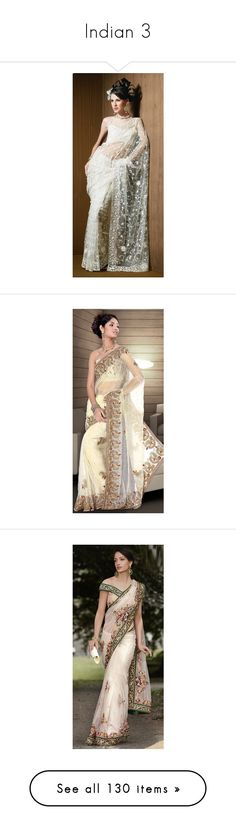 """""""Indian 3"""" by enchantedrose33 ❤ liked on Polyvore featuring accessories, dresses, wedding dresses, bollywood, sari, saree, saris, indian, outfits and gown"""