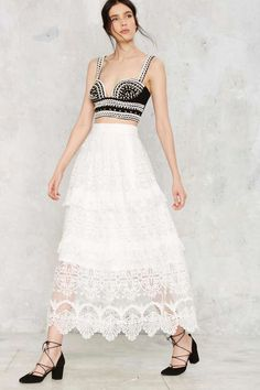 Tiering Up My Heart Lace Skirt - Clothes   Maxi